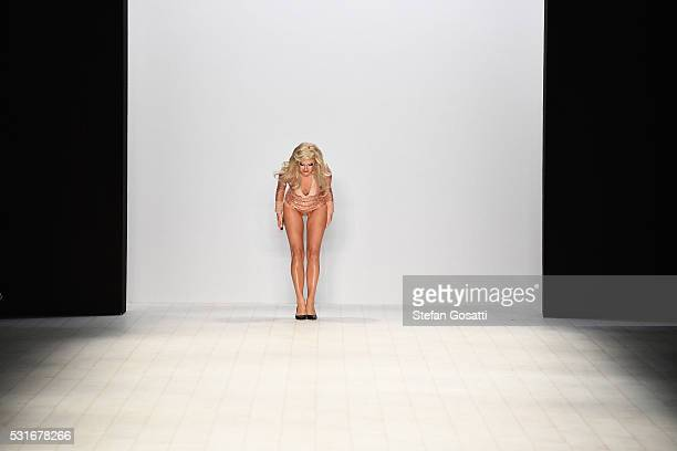 A performer bows at the end of the runway during the Zhivago show at MercedesBenz Fashion Week Resort 17 Collections at Carriageworks on May 16 2016...