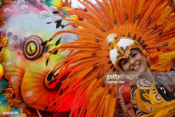 A performer dances during Beija Flor performance at the Rio Carnival at Sambodromo on February 26 2017 in Rio de Janeiro Brazil