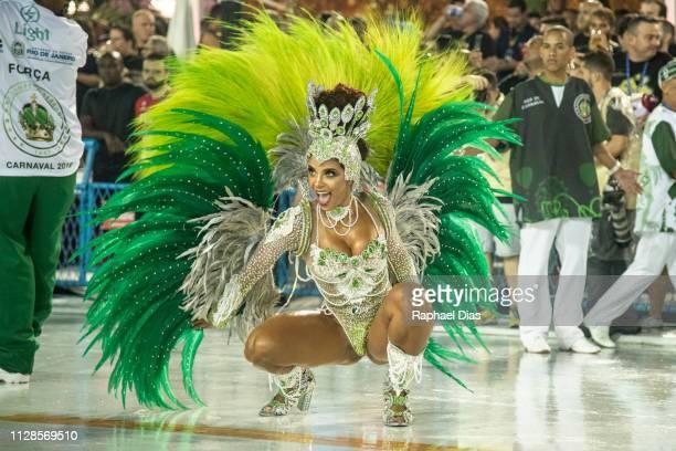 A performer dances during Imperio Serrano performance at the Rio de Janeiro Carnival at Sambodromo on March 3 2019 in Rio de Janeiro Brazil