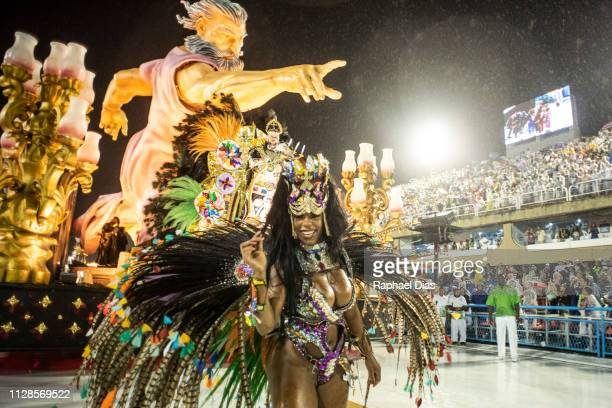 Performer dances during Imperio Serrano performance at the Rio de Janeiro Carnival at Sambodromo on March 3, 2019 in Rio de Janeiro, Brazil.