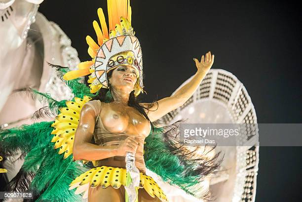 A performer dances during Mocidade performance at the Rio Carnival in Sambodromo on February 7 2016 in Rio de Janeiro Brazil Despite the Zika virus...