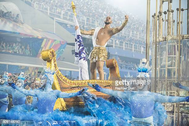 A performer dances during Portela performance at the Rio Carnival in Sambodromo on February 8 2016 in Rio de Janeiro Brazil Despite the Zika virus...