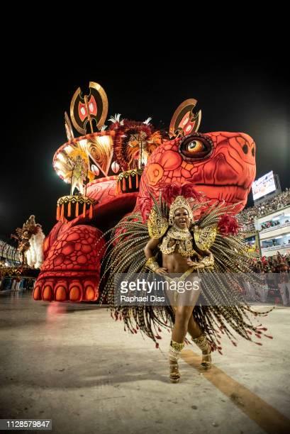 A performer dances during Salgueiro performance at the Rio de Janeiro Carnival at Sambodromo on March 3 2019 in Rio de Janeiro Brazil
