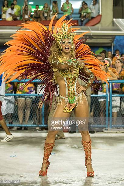A performer dances during Unidos da Tijuca performance at the Rio Carnival in Sambodromo on February 7 2016 in Rio de Janeiro Brazil Despite the Zika...