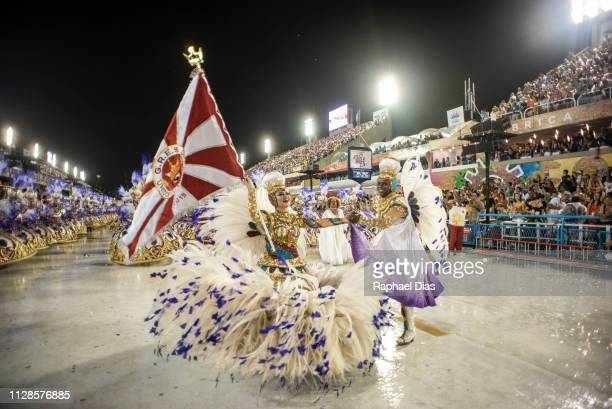 Performer dances during Viradouro performance at the Rio de Janeiro Carnival at Sambodromo on March 3, 2019 in Rio de Janeiro, Brazil.