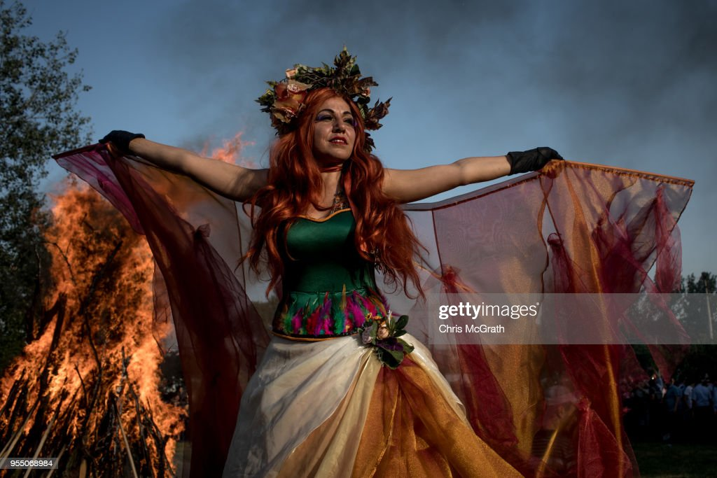 A performer dances in front of a large bonfire during the Kakava Festival on May 5, 2018 in Edirne, Turkey. The annual Kakava (Hõdõrellez) spring festival celebrates the coming of spring amongst the Roma community.