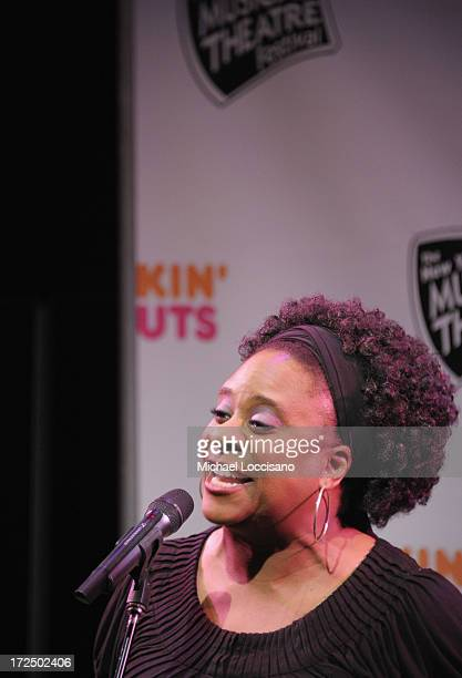 Performer Danielle Lee Greaves performs during the 2013 New York Musical Theatre Festival Preview at The Pershing Square Signature Center on July 2...