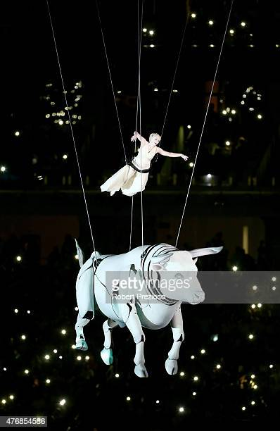 A performer depicting Europa a Phoenician princess rides a white bull representing the greek god Zeus during the Opening Ceremony for the Baku 2015...