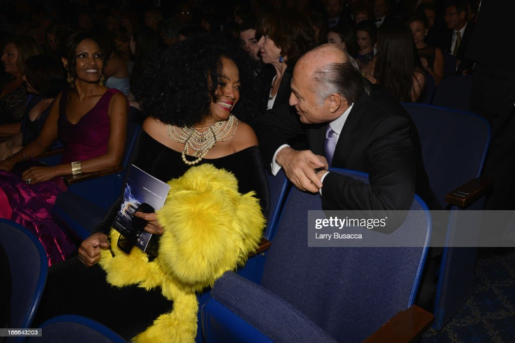 Performer Diana Ross and Chairman and CEO of Sony Music Entertainment Doug Morris attend 'Motown: The Musical' Opening Night at Lunt-Fontanne Theatre on April 14, 2013 in New York City.