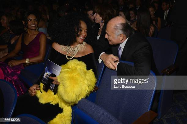"Performer Diana Ross and Chairman and CEO of Sony Music Entertainment Doug Morris attend ""Motown: The Musical"" Opening Night at Lunt-Fontanne Theatre..."
