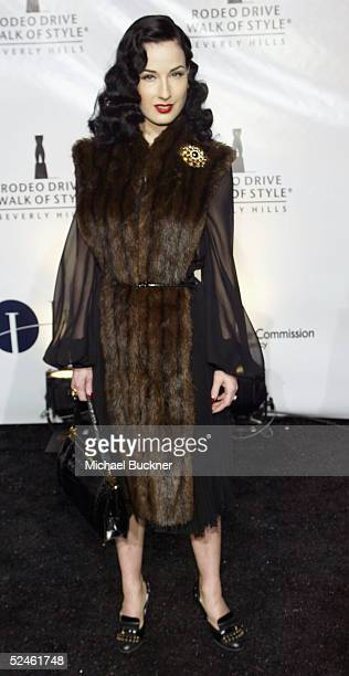 Performer Dita Von Teese arrives at the Rodeo Drive Walk Of Style Award Show on Rodeo Drive on March 20 2005 in Beverly Hills California