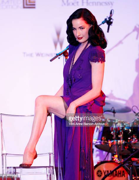 Performer Dita von Teese during amfAR's Cinema Against AIDS 2008 benefit held at Le Moulin de Mougins during the 61st International Cannes Film...