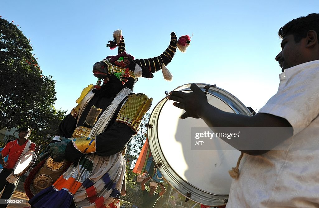 A performer, dressed as a huge puppet dances to the music of drums during 'Sankranti' celebrations in Bangalore on January 15, 2013. Sankranti, the Hindu harvest festival marks the beginning of the month in the solar calendars followed in Tamil Nadu, Kerala, Andhra Pradesh, Karnataka, Orissa. AFP PHOTO/Manjunath KIRAN