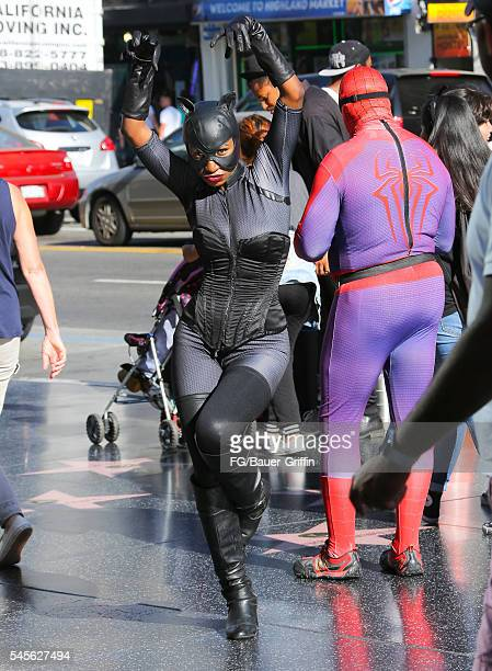 Performer dressed as Catwoman seen on Hollywood Boulevard on July 8 2016 in Los Angeles California A recent City of LA ordinance calls for a 20 USD...