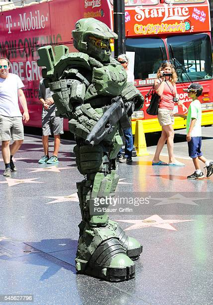 Performer dressed as Master Chief seen on Hollywood Boulevard on July 8 2016 in Los Angeles California A recent City of LA ordinance calls for a 20...