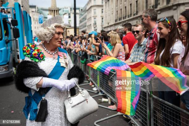 A performer dressed as the Queen takes part in the Pride in London Festival on July 8 2017 in London England The Pride in London Festival sees...