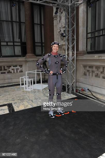 A performer is seen ahead of the steventai presentation during London Fashion Week February 2018 at British Foreign and Commonwealth Office on...