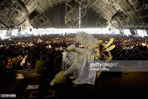 A performer is seen onstage during the Mr Carmack show on day 2 of the 2016 Coachella Valley Music Arts Festival Weekend 1 at the Empire Polo Club on...