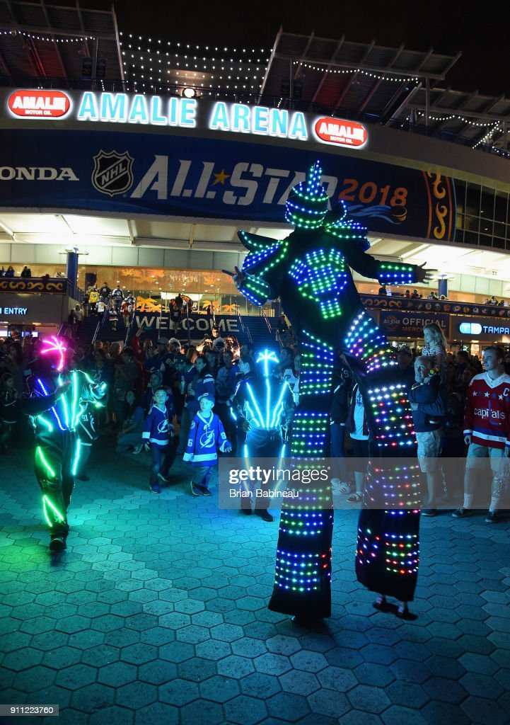 A performer is seen outside the arena during 2018 GEICO NHL All-Star Skills Competition at Amalie Arena on January 27, 2018 in Tampa, Florida.
