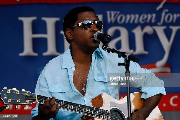 Performer Kenneth Babyface Edmonds sings onstage at a rally for Hillary Clinton called Club 44 a reference to the number of the next President of the...