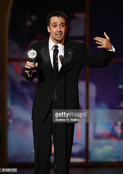 Performer LinManuel Miranda accepts the Best Original Score Written For The Theatre onstage during the 62nd Annual Tony Awards held at Radio City...