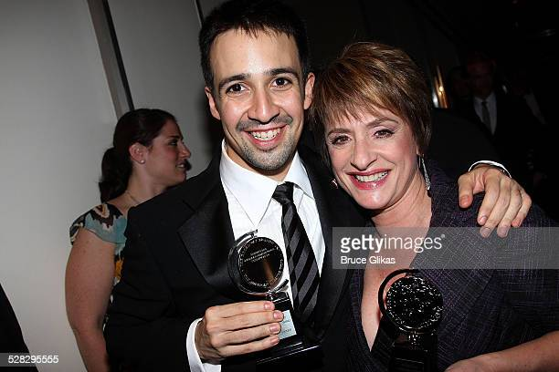 Performer LinManuel Miranda and actress Patti LuPone pose with their awards backstage at the 62nd Annual Tony Awards on June 15 2008 at the Rainbow...