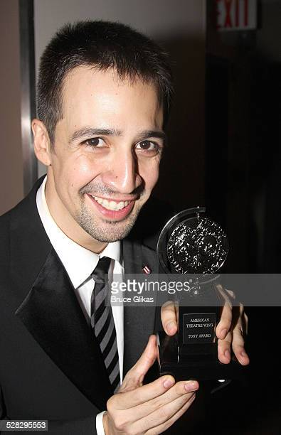 Performer LinManuel Miranda poses backstage at the 62nd Annual Tony Awards on June 15 2008 at the Rainbow Room in New York