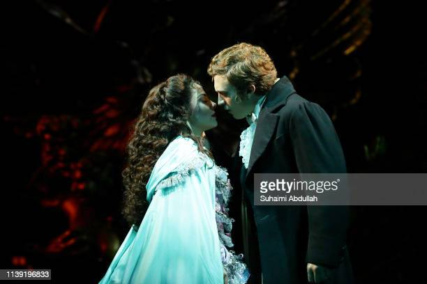 Performer Matt Leisy plays 'Raoul' and Meghan Picerno plays 'Christine Daae' in the musical, The Phantom Of The Opera during a media preview at the...