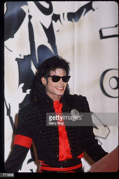Performer Michael Jackson stands at an award ceremony held by CBS Records February 20, 1990 in Los Angeles, CA. Jackson, who was the lead singer for...