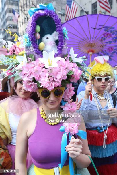 A performer named Aphrodite Rose takes part in the Easter Parade on Fifth Avenue at St Patrick's Cathedral on April 16 2017 in New York City USA