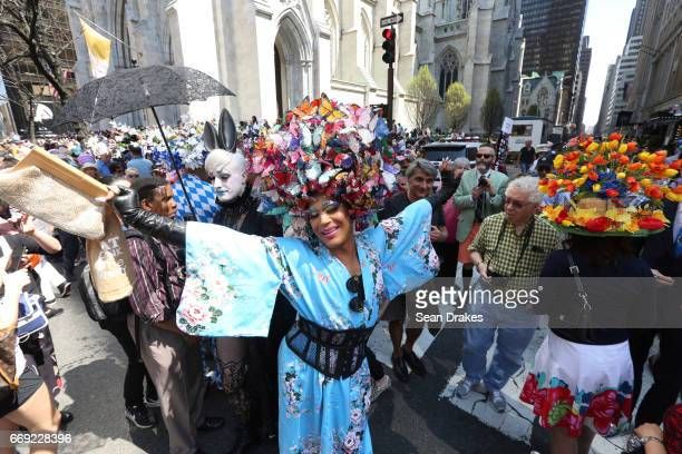 A performer named Carrie Blackshaw takes part in the Easter Parade on Fifth Avenue at St Patrick's Cathedral on April 16 2017 in New York City USA