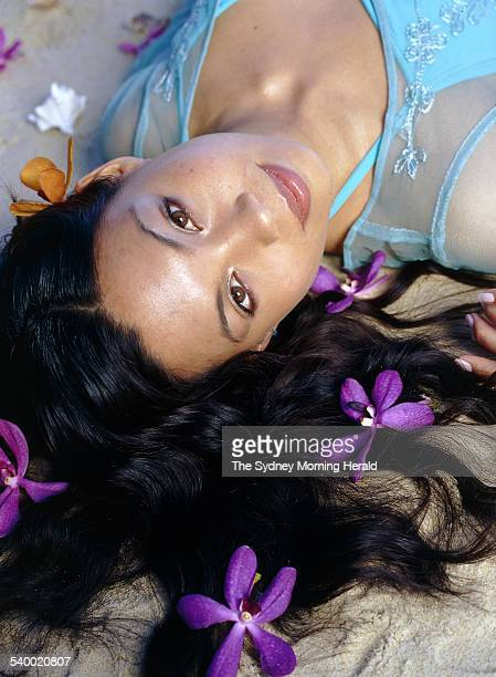Performer Natalie Mendoza at the beach 25 June 2001 SMH Picture by STEPHEN BACCON