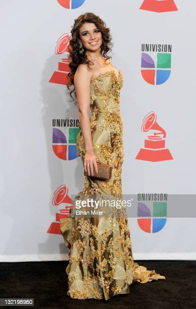 Performer Paula Fernandes poses in the press room during the 12th annual Latin GRAMMY Awards at the Mandalay Bay Resort Casino on November 10 2011 in...