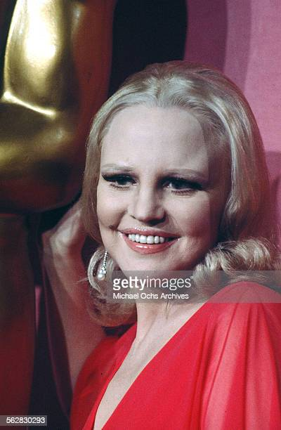 Performer Peggy Lee poses backstage after singing 'The Way We Were' during the 46th Academy Awards at Dorothy Chandler Pavilion in Los...