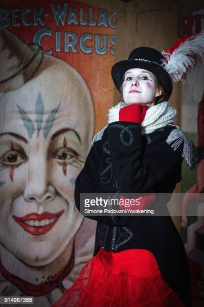A performer poses during a portrait session on the stage of the circus structure built in Saint Mark's square for this year's Carnival on February 6...