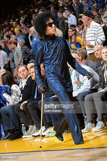 Performer Prince attends the Oklahoma City Thunder game against the Golden State Warriors on March 3 2016 at ORACLE Arena in Oakland California NOTE...