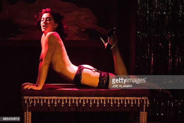 A performer reacts during the Monday Night Tease burlesque show at 3 CLUBS in Hollywood California on April 72014 Monday Night Tease L A's longest...