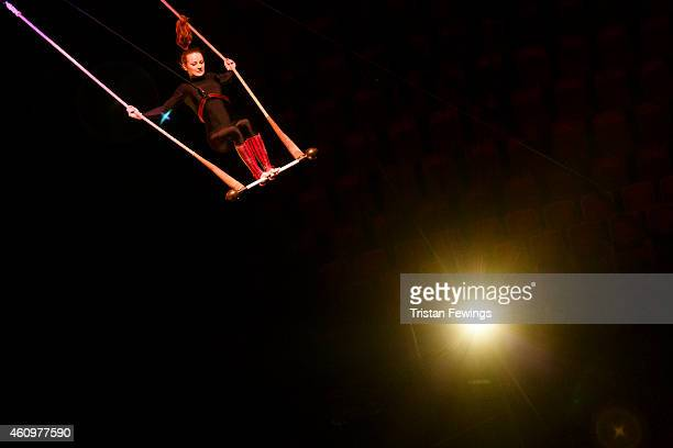 A performer rehearses on stage in preperation for the opening of 'Kooza' by Cirque Du Soleil' at Royal Albert Hall on January 2 2015 in London England