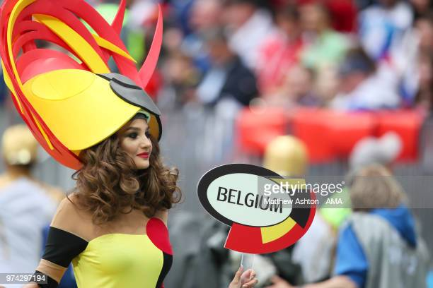 A performer representing Belgium looks on at the opening ceremony prior to the 2018 FIFA World Cup Russia group A match between Russia and Saudi...