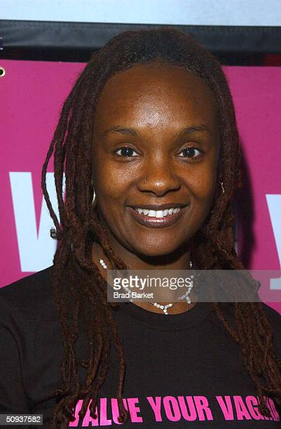 Performer Rha Goddess poses at launch of VDay's ' V is for Vote' campaign at the Culture Project Theatre June 7 2004 in New York City