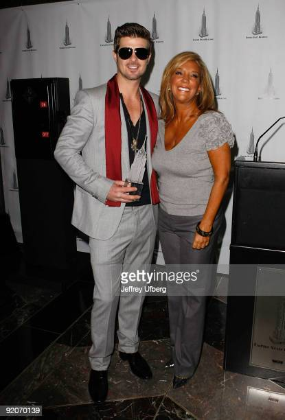 Performer Robin Thicke and Grammy nominated songwriter Denise Rich light The Empire State Building for Gabrielle�s Angel Foundation for Cancer...