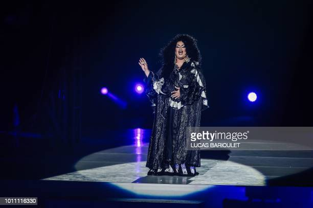A performer sings during the opening ceremony of the 2018 Gay Games edition at the Jean Bouin Stadium in Paris on August 4 2018 French capital Paris...