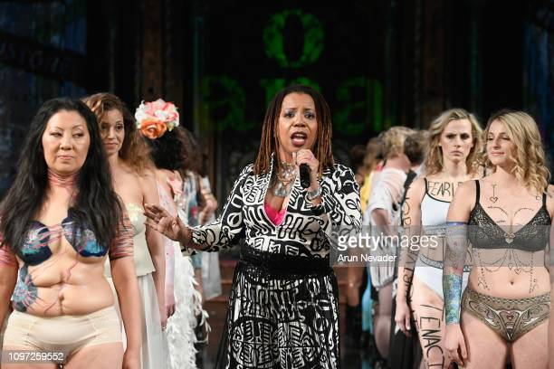 A performer walks the runway for ANA ONO INTIMATES X PROJECT CANCERLAND At New York Fashion Week Powered By Art Hearts Fashion NYFW at The Angel...