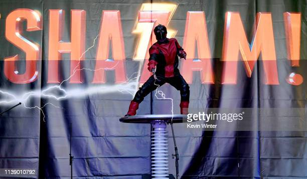 A performer works with electrical currents at the world premiere of Warner Bros Pictures and New Line Cinema's SHAZAM at TCL Chinese Theatre on March...