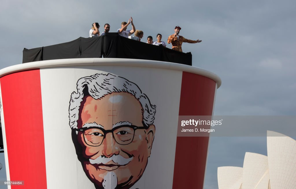 Hundreds Flock To Giant Bucket Of Chicken As KFC Celebrates 50 Years In Australia