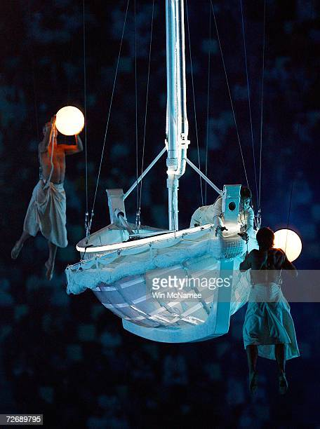 Performers act as ancient pearl divers during a rehearsal at Khalifa Stadium for the Opening Ceremony of the 15th Asian Games November 29 2006 in...