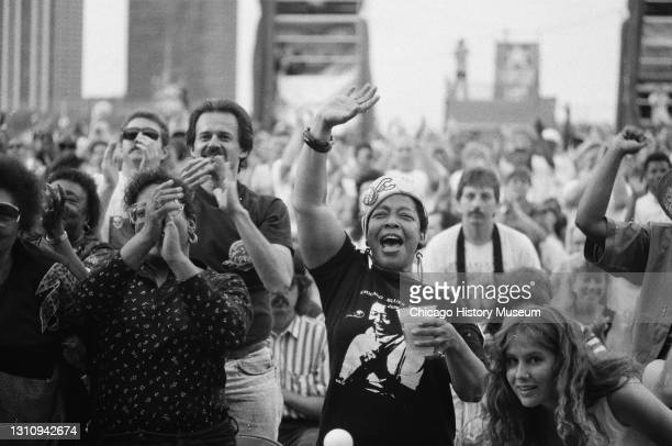 Performers and fans at the seventh annual Chicago Blues Fest in Grant Park, Chicago, Illinois, June 8, 1990.