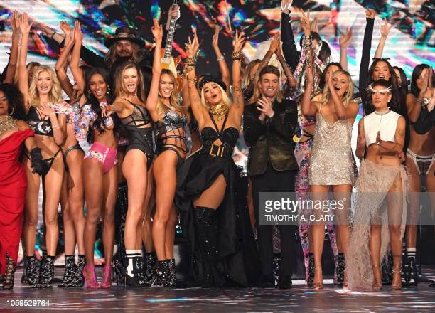 Performers and models on the runway at the 2018 Victoria's Secret Fashion Show on November 8 2018 at Pier 94 in New York City Every year the...