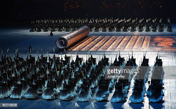 Performers are pictured during the Opening Ceremony for the 2008 Beijing Summer Olympics at the National Stadium on August 8 2008 in Beijing China