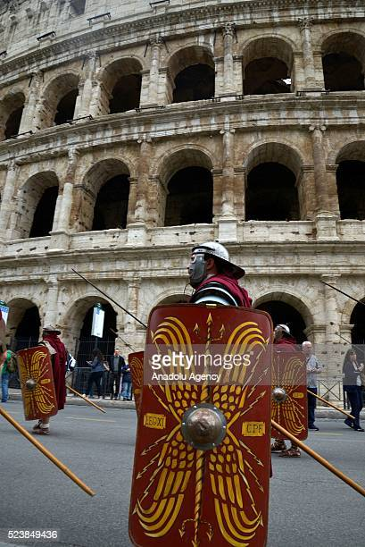 Performers are seen during 2768th anniversary of founding of Rome as parades and other events continue all around the eternal city in Rome, Italy on...